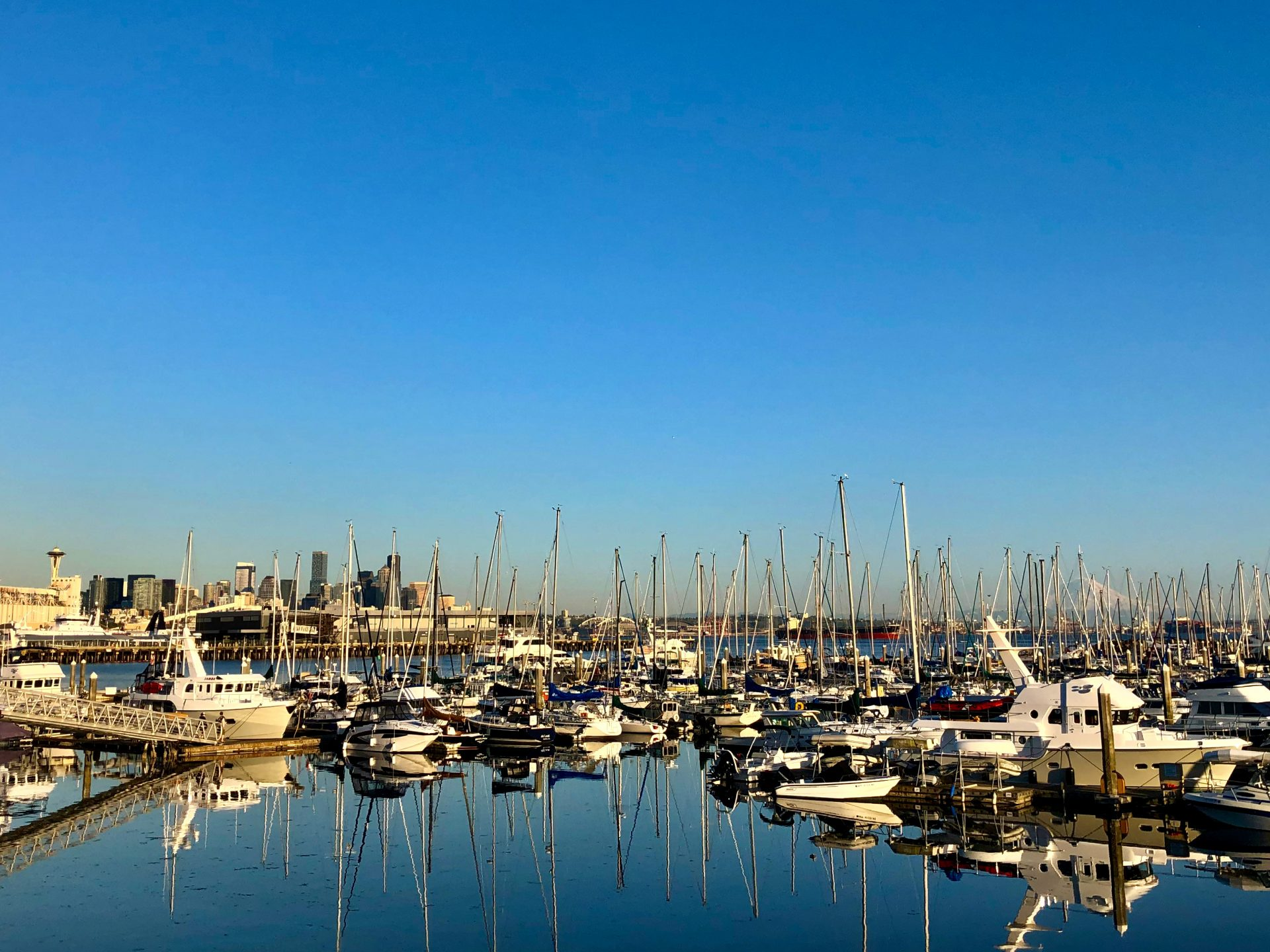 Planning a trip to Seattle Washington, boats in marina with Seattle and Mount Rainier behind