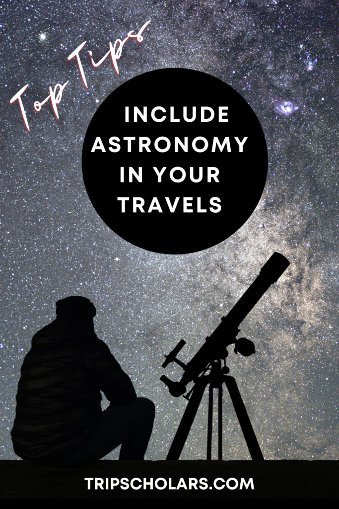 How to Include Astronomy in your travels pin silhouette person and telescope against milky way background