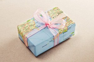 Gift wrapped in a map