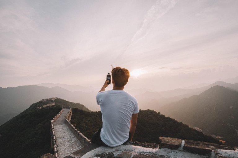 Tourist at Great wall of China