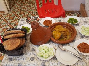 Sheep and quince tagine and other delights, local home, Fez