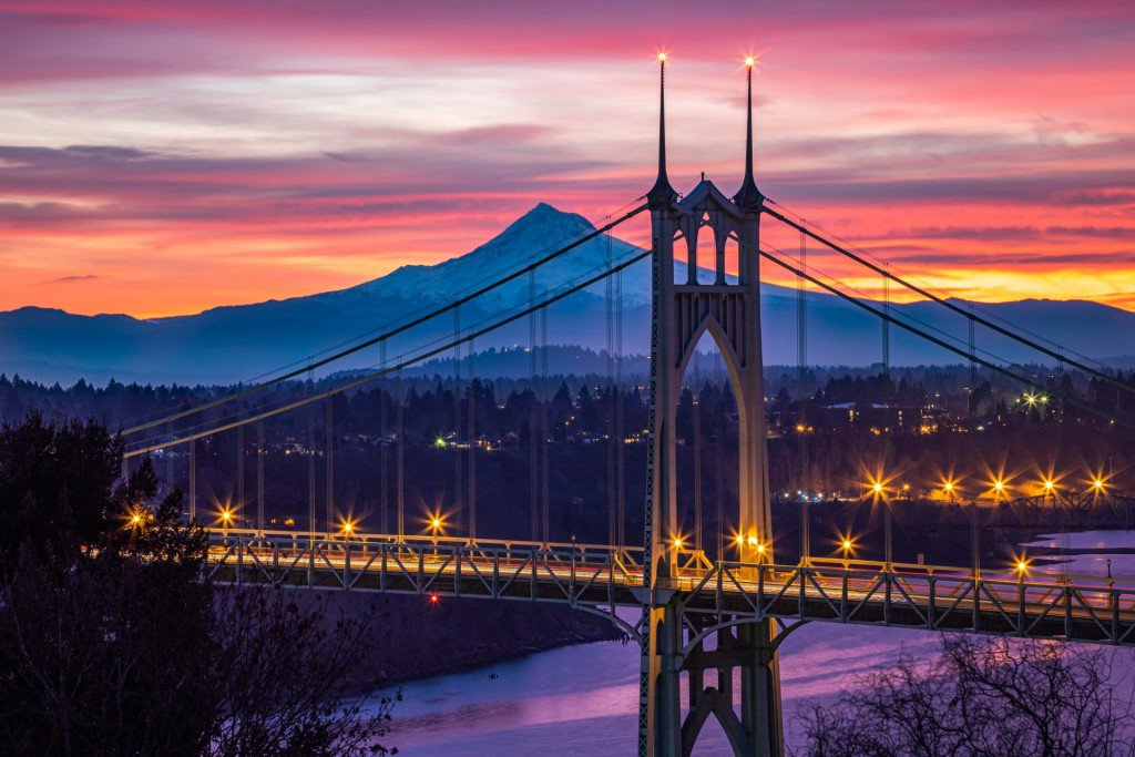 Travel Landscape Photography, Saint John's Bridge, Portland Oregon at Sunset with Mt Hood behind