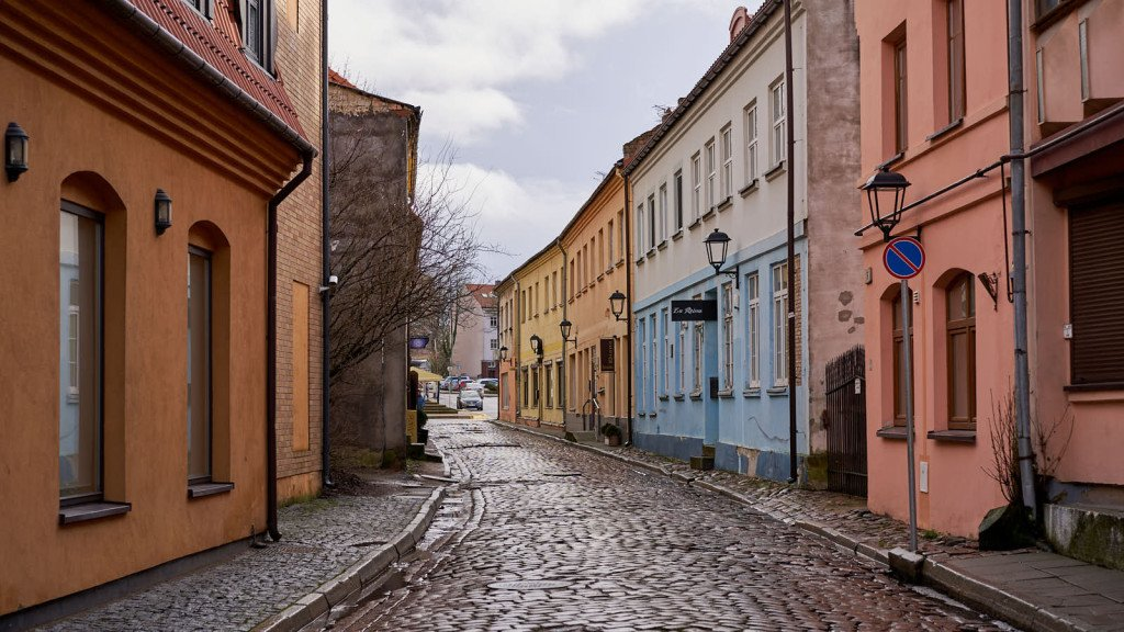 Heritage Tour Colorful street in Kalipeda, Lithuania.